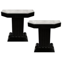 Pair of Art Deco Black Lacquer & Antiqued Mirror Console Tables, Grosfeld House