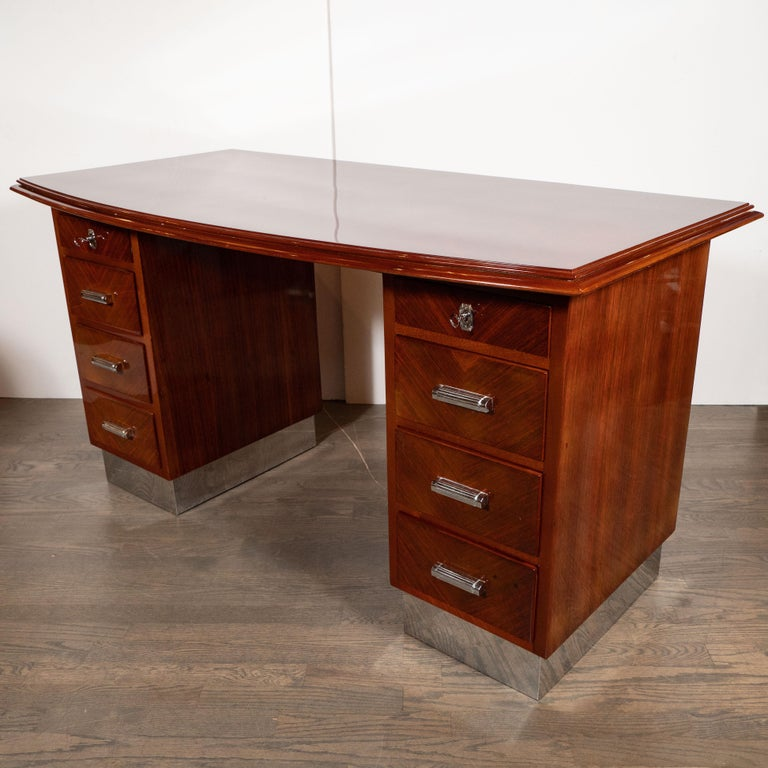 Mid-20th Century Art Deco Machine Age Bookmatched Bowfront Rosewood Desk with Nickel Wrapped Base For Sale