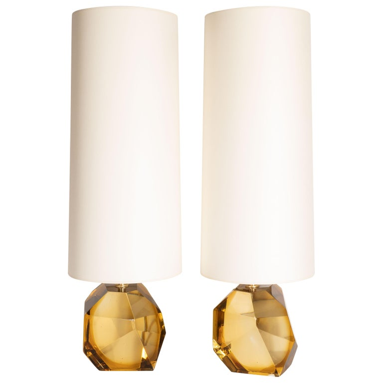 Modernist Faceted Handblown Murano Topaz Glass Table Lamps
