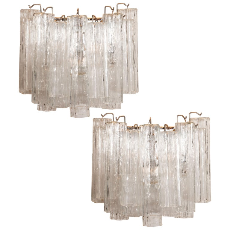 Mid-Century Modern Translucent Glass Tronchi Sconces with Nickel Fittings