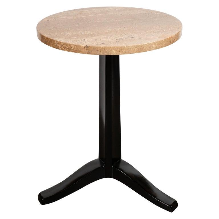 Mid-Century Modern Tripod Side Table in Exotic Travertine & Ebonized Walnut