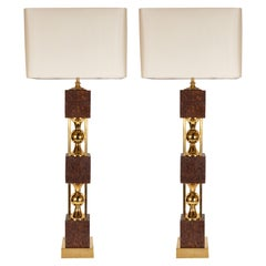 Pair of Sculptural Mid-Century Modern Polished Brass and Cork Table Lamps