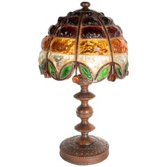 Arts & Crafts Bronze and Leaded Amber, Emerald and Citrine Chip Glass Table Lamp