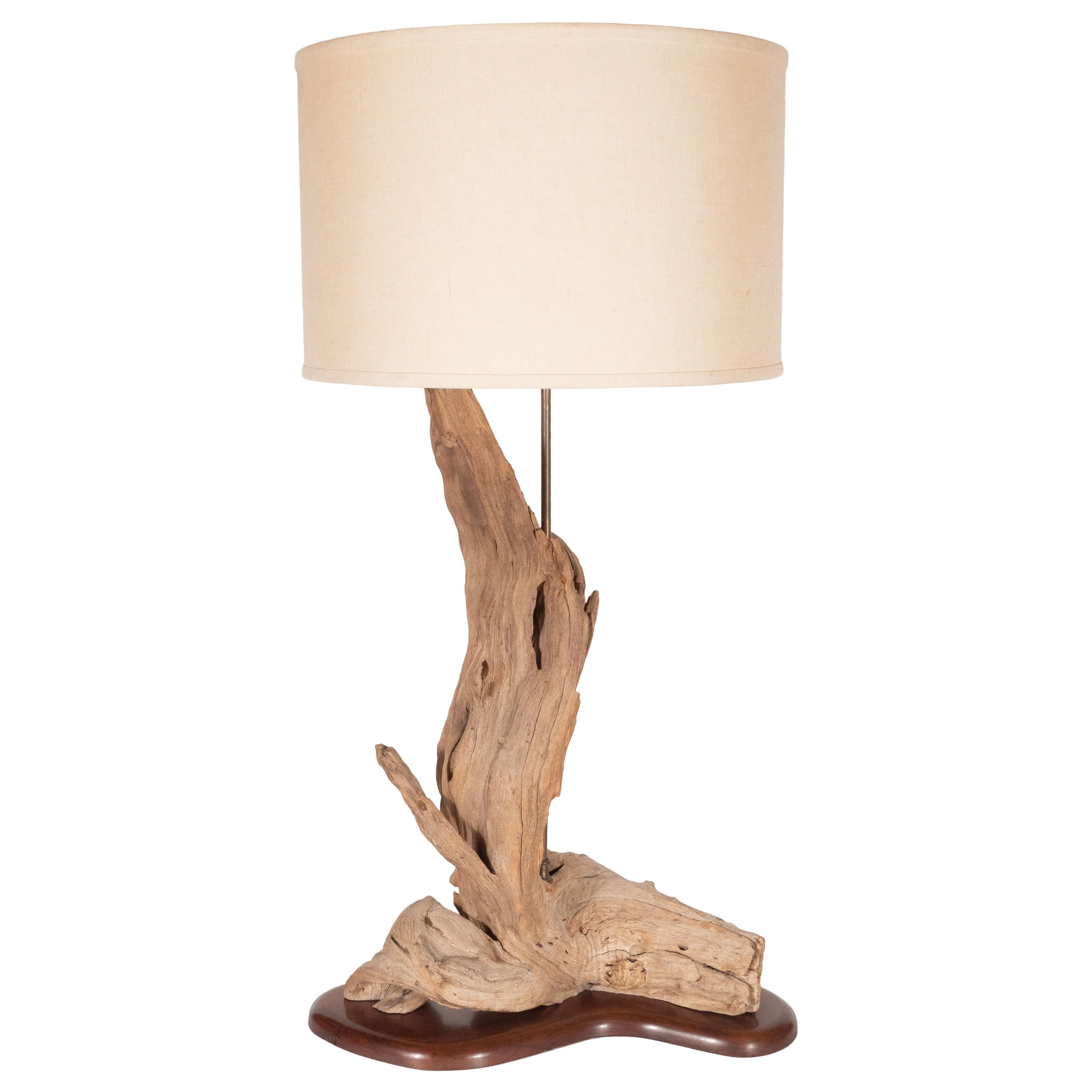 Organic Modern Sculptural Driftwood Table Lamp With Handrubbed Walnut Base  For Sale