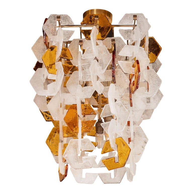 Mid-Century Modern Murano Interlocking Amber and White Glass Chandelier, Mazzega