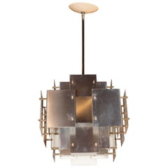 Mid-Century Modern Brutalist Brushed Steel Chandelier by Robert Sonneman