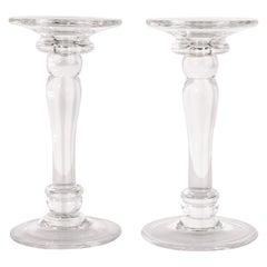 Mid-Century Modern Translucent Glass Doric Column Candlesticks