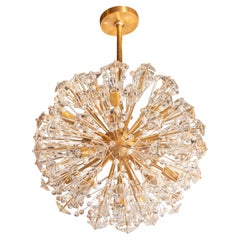 Modernist Brushed Brass, Cut Crystal and Glass Sputnik Chandelier