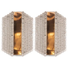 Pair of Midcentury Glass Sconces in Textured Glass by Kaiser Leuchten