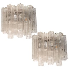 Midcentury Staggered Translucent Glass Tronchi Sconces with Nickel Fittings