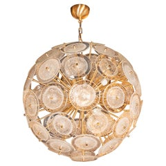Brushed Brass Sputnik Chandelier with Handblown Translucent  Murano Glass Discs