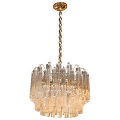 Mid-Century Modern Four-Tier Handblown Camer Chandelier with Brass Fittings