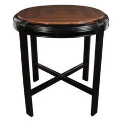 Art Deco Machine Age Book Matched & Ebonized Walnut Occasional Table