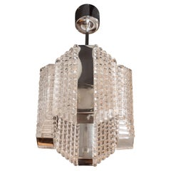 Mid-Century Modern Chrome and Textured Glass Pendant by Kaiser Leuchten