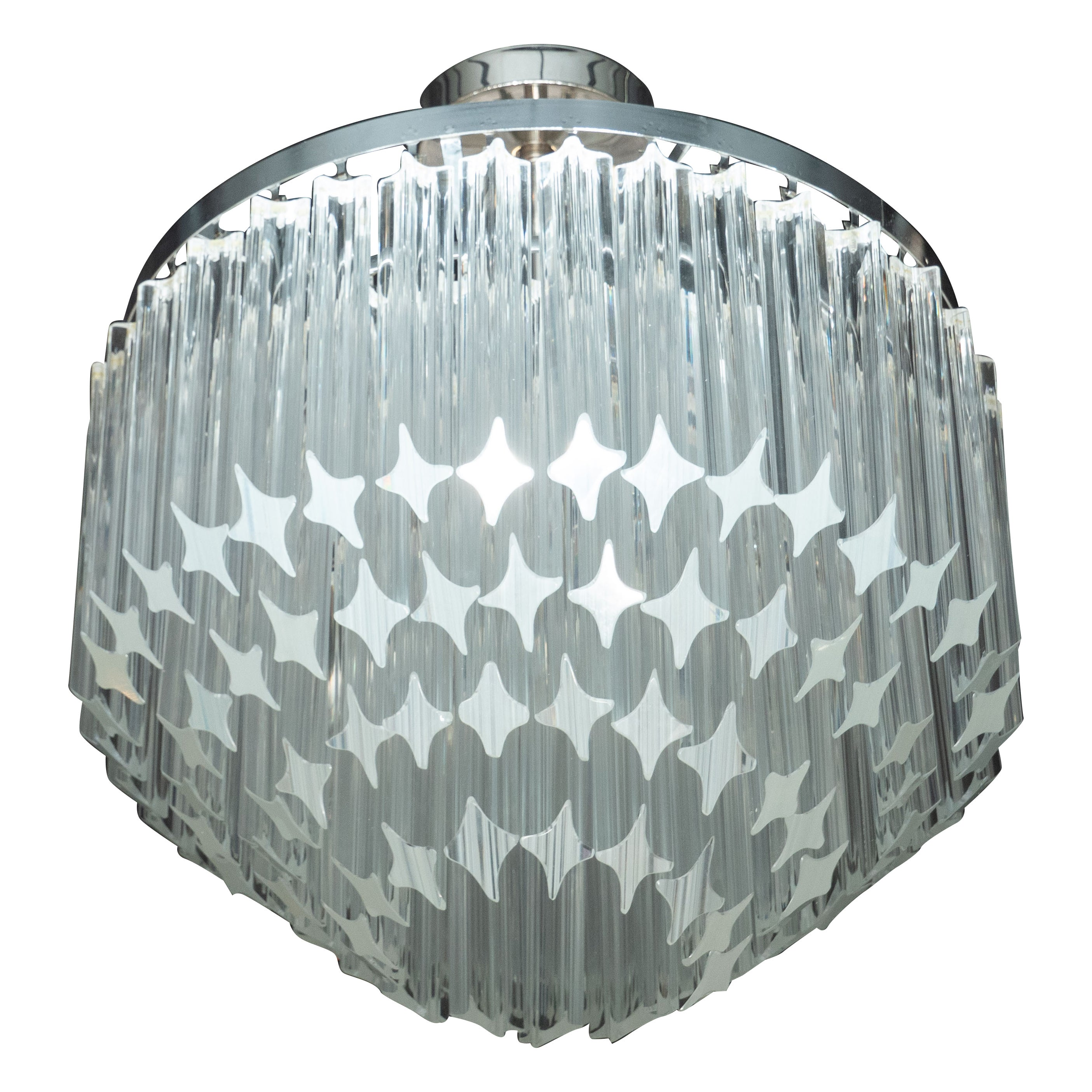 Italian Mid-Century Modern Camer Chandelier with Chrome Detailing