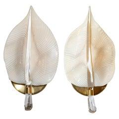 Pair of Mid-Century Modern Handblown Murano Glass Honeycomb Leaf Sconces