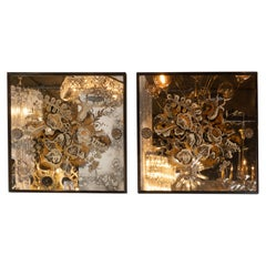 Pair of 1940s French Églomisé & Antiqued mirrored Panels with Bronze Details