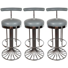 Set of Three Mid-Century Modern Chrome and Dove Gray Swivel Bar Stools