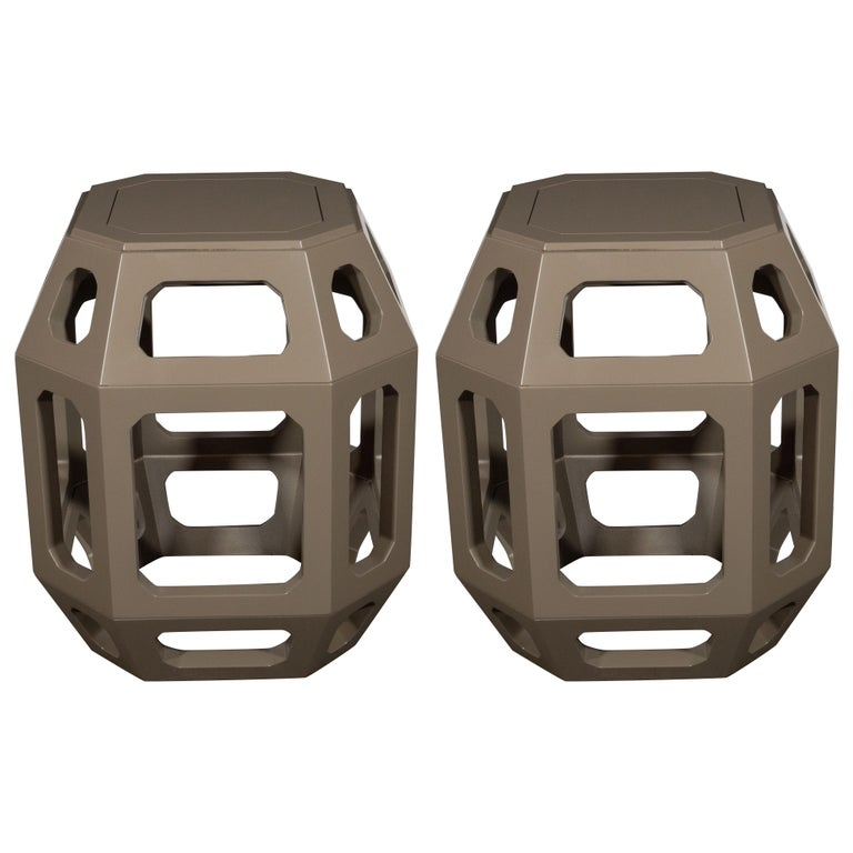Pair of Mid-Century Modern Geometric Cut Out Gray Lacquered Stools For Sale