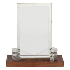 Art Deco Machine Age Skyscraper Style Chrome and Walnut Picture Frame