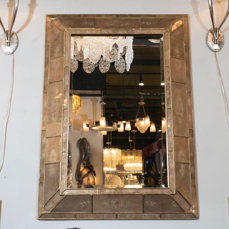 Mid-20th Century Mid-Century Modern Smoked Bronze Églomisé and Gilt Shadowbox Mirror For Sale