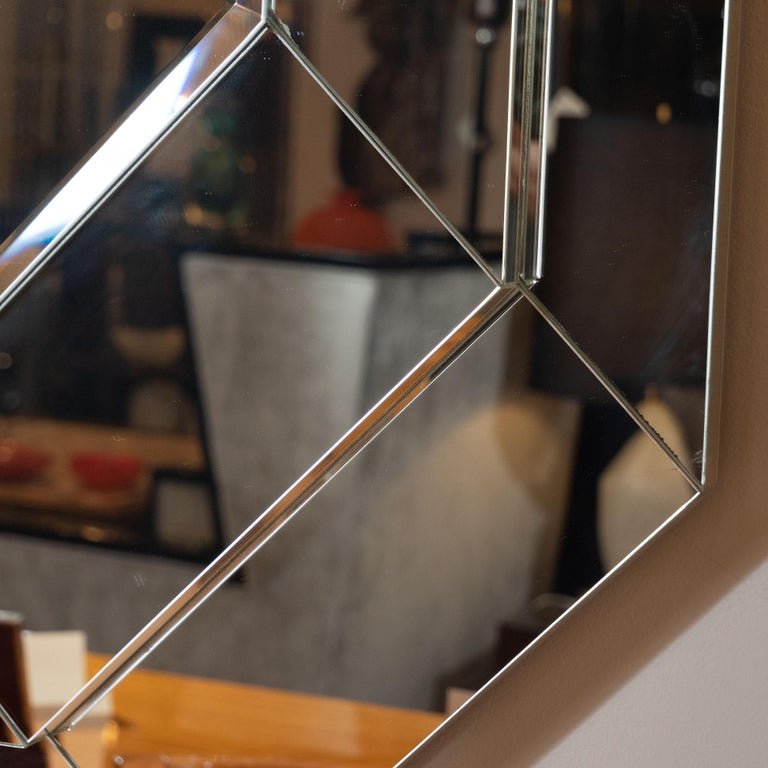 Late 20th Century Mid-Century Modern Octagonal Three-Tiered Stepped and Beveled Mirror For Sale