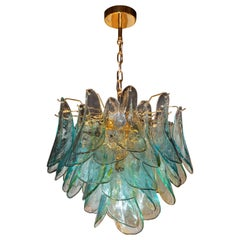Mid-Century Modern Acqua Glass Peacock Chandelier by Barbini with Brass Fittings