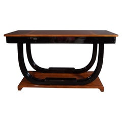 Art Deco Burled Walnut, Lacquer and Rosewood Console Table with Walnut Marquetry