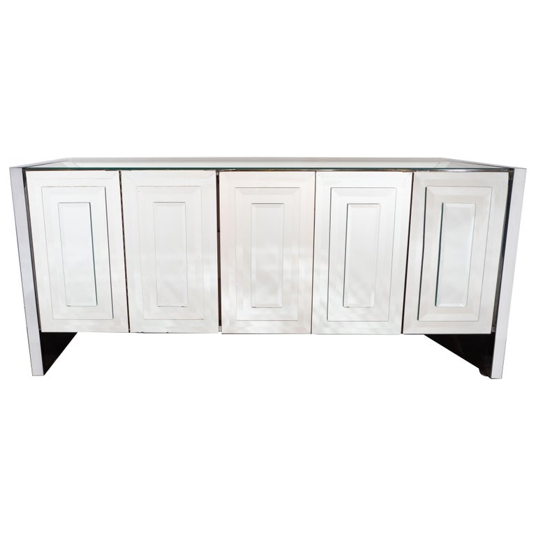 Mid-Century Modern Mirrored and Chrome Sideboard by Ello