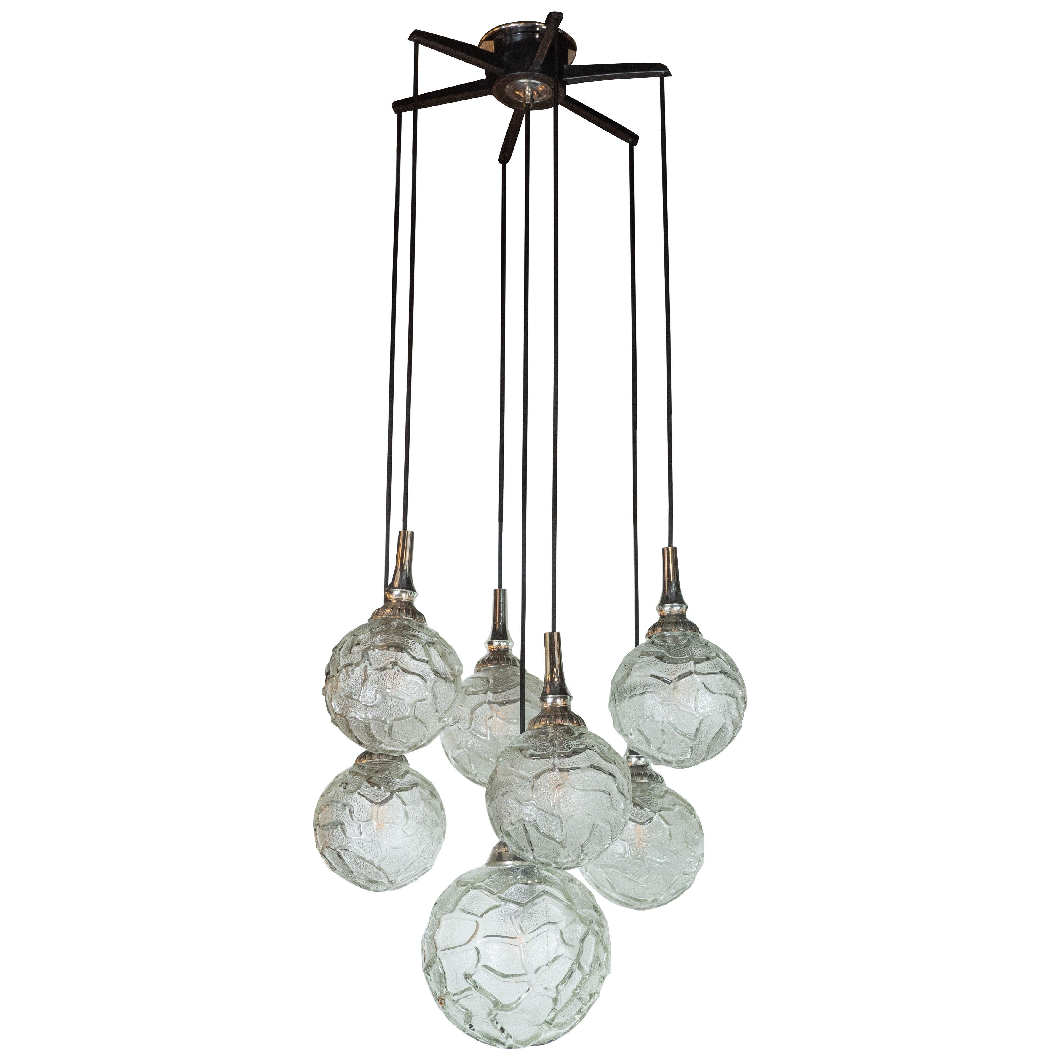 Mid century modern six spherical orb chandelier w organic textured glass