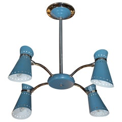 Mid-Century Modern Four-Arm Chrome and Cerulean Blue Enamel Chandelier