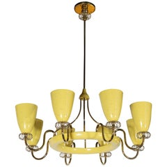 French Mid-Century Modern Brass and Yellow Enamel Eight-Arm Chandelier