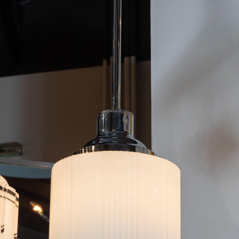Art Deco Machine Age Skyscraper Style Chrome & Opaque / Pressed Glass Pendant In Excellent Condition For Sale In New York, NY