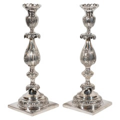 Pair of 19th Century Polish Sterling Silver Repoussé Sabbath Candlesticks