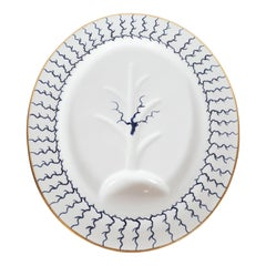 Midcentury Porcelain Carving Platter with 24kt Gold & Navy Handpainted Detailing