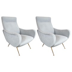 Pair of Mid-Century Modern Club Chairs with Atomic Brass Legs by Marco Zanuso
