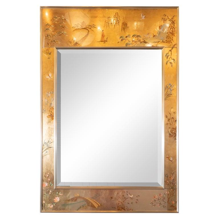 Mid-Century Modern La Barge Hand Painted Églomisé Chinoiserie Mirror