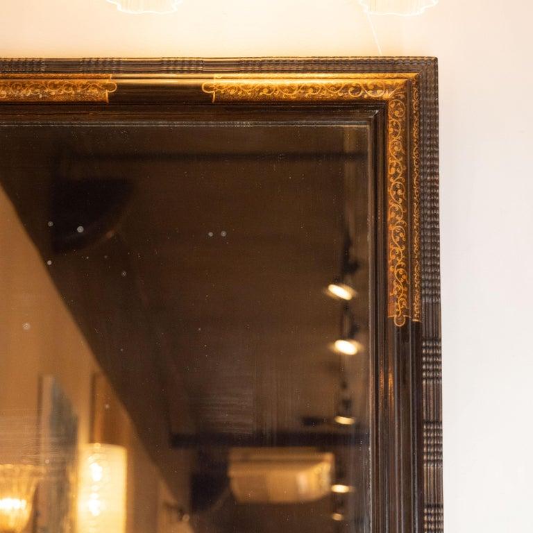Hollywood Regency Pair of Hollywood Dark Brown Walnut Hand Painted Gilt Églomisé Mirrors For Sale