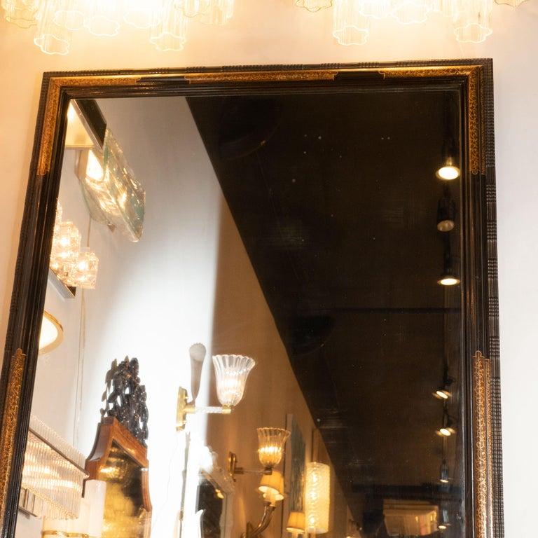 Gold Pair of Hollywood Dark Brown Walnut Hand Painted Gilt Églomisé Mirrors For Sale