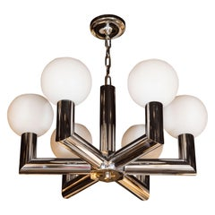 Mid-Century Modern Polished Chrome and Frosted Glass Chandelier by Sciolari