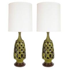 Pair of Mid Century Organic Modern Sculptural Latticework Table Lamps