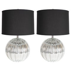 Pair of Hand Blown Murano Mercury Glass Spherical Table Lamps