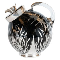 Art Deco Black Glass Bar Pitcher with Flora & Fauna Sterling Silver Overlays