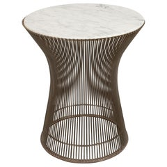 Mid-Century Modern Steel & Carrara Marble Side Table by Warren Platner for Knoll