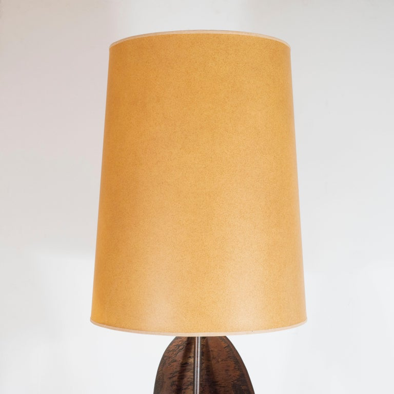 Pair of Mid-Century Sculptural Brutalist Patinated Steel Ribbon Table Lamps For Sale 3