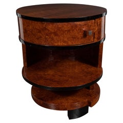 Art Deco Cubist Bookmatched Walnut, Burled Carpathian Elm & Black Lacquer Table