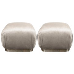 Mid-Century Modern Chrome and Velvet Soufflé Poufs, Style of Karl Springer