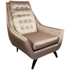 Mid-Century Modern High Back Chair by Adrian Pearsall in Geometric Dedar Fabric