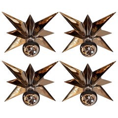 Set of Four Graphic Mid-Century Modern Polished Nickel Star Flush Mounts