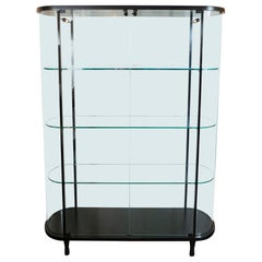 Mid-Century Modern Glass Illuminated Display Cabinet with Lock and Key by Pace